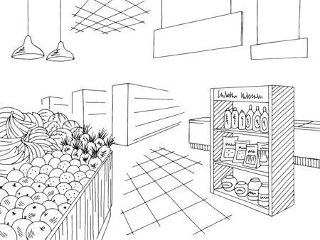 Grocery interior store shop black white graphic sketch illustration vector Illustration