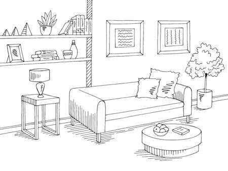 Living room graphic black white home interior sketch illustration vector