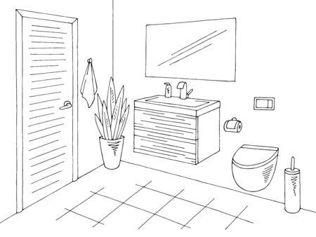 Toilet interior graphic home black white sketch illustration vector Vetores