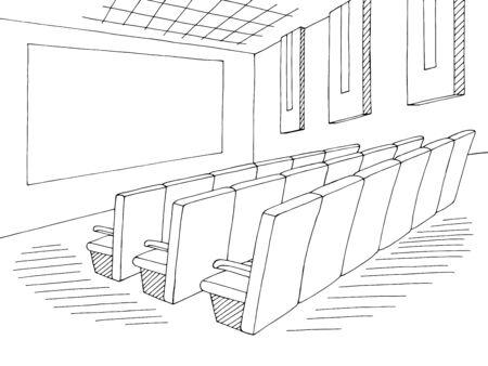Cinema interior graphic black white sketch illustration vector