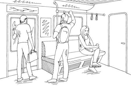 Train interior people graphic metro subway black white sketch illustration vector