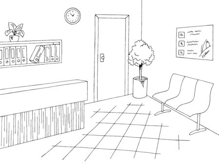 Hospital lobby reception graphic black white lobby interior sketch illustration vector Stock Illustratie