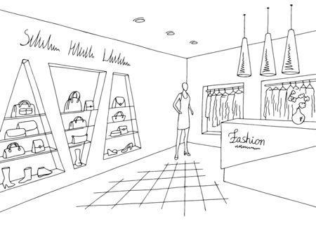 Shop store interior graphic black white sketch illustration vector