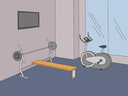 Gym interior graphic color sketch illustration vector
