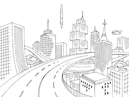 City of the future graphic black white cityscape skyline sketch illustration vector
