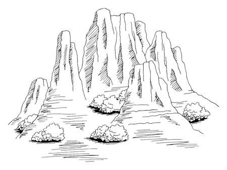 Prairie mountain graphic black white wild west landscape sketch illustration vector