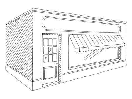 Shop store exterior graphic black white isolated sketch illustration vector Иллюстрация