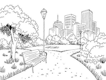 Park graphic black white city landscape sketch illustration vector Иллюстрация