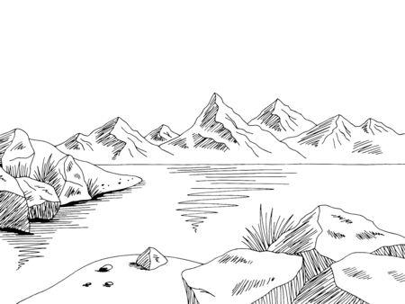 Klippe Meer Küste Grafik Schwarz Weiß Landschaft Skizze Illustration Vektor