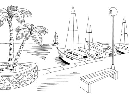 Seafront pier graphic yacht sea black white landscape sketch illustration vector