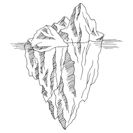 Iceberg graphic black white isolated sketch illustration vector
