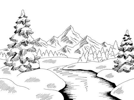 Winter river landscape graphic black white sketch illustration vector Иллюстрация