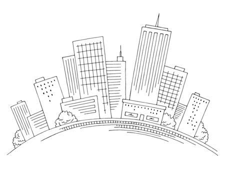 City on the hill graphic black white cityscape skyline sketch illustration vector Иллюстрация