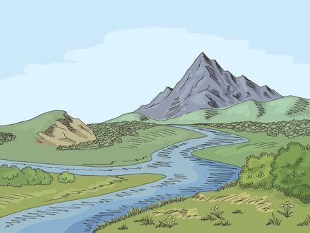 Mountain river graphic color landscape sketch illustration vector 向量圖像