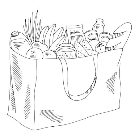 Grocery bag graphic isolated black white sketch illustration vector Иллюстрация