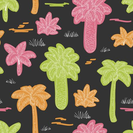 Palm tree graphic color seamless pattern background sketch illustration vector