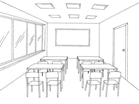 Classroom graphic black white school interior sketch illustration vector Stock Illustratie