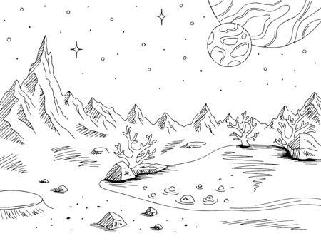 Alien planet graphic black white space landscape sketch illustration vector