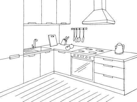 Illustrazione vettoriale di schizzo interno domestico bianco nero grafico della stanza della cucina
