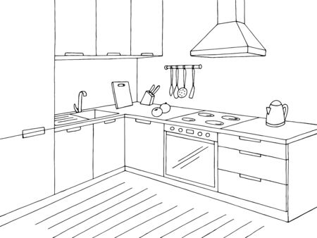 Kitchen room graphic black white home interior sketch illustration vector Illusztráció