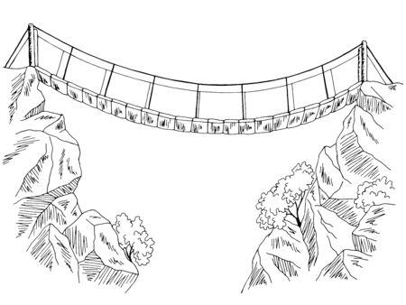 Ponte sopra l'illustrazione grafica del paesaggio bianco nero grafico dell'abisso vettore Vettoriali
