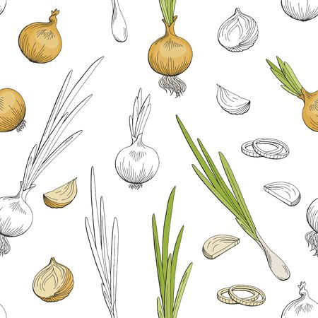 Onion vegetable graphic color seamless pattern background sketch illustration vector Ilustrace