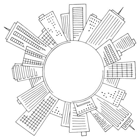 Round center of the city graphic black white cityscape skyline sketch illustration vector