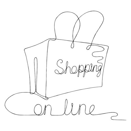 Continuous on line shopping bag graphic black white isolated sketch illustration vector