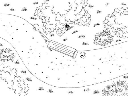 Vista del parque desde arriba vector de ilustración de dibujo de paisaje blanco negro gráfico superior