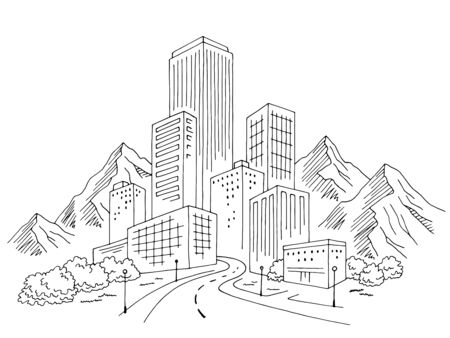 City mountains graphic black white cityscape skyline sketch illustration vector