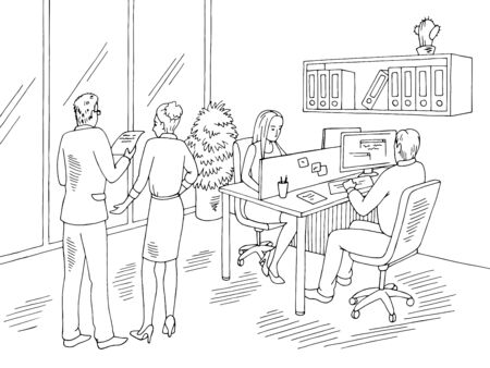 People are working in the office graphic black white interior sketch illustration vector