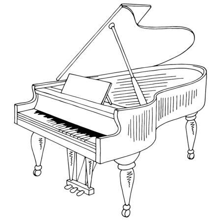 Illustrazione vettoriale di schizzo isolato bianco nero grafico di pianoforte a coda