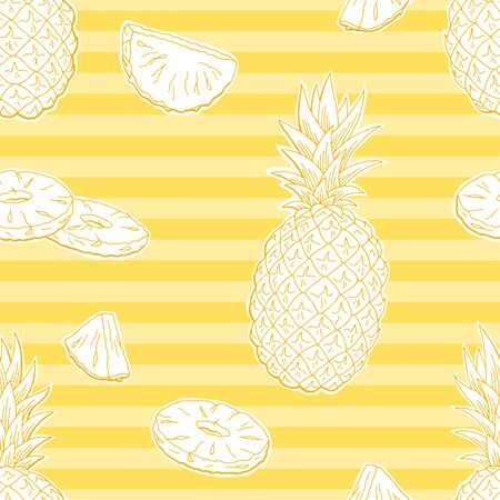 Pineapple fruit graphic color seamless pattern background sketch illustration vector