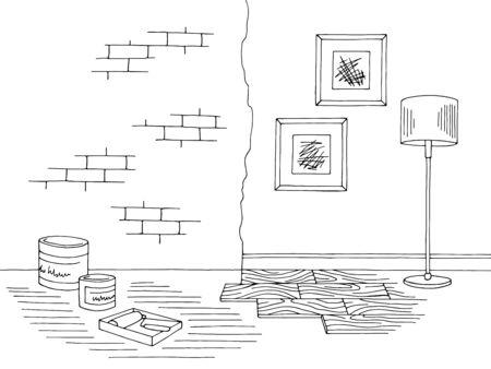 Renovation room home interior graphic black white sketch illustration vector Ilustracja
