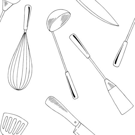 Kitchen supplies graphic seamless pattern background black white sketch illustration vector