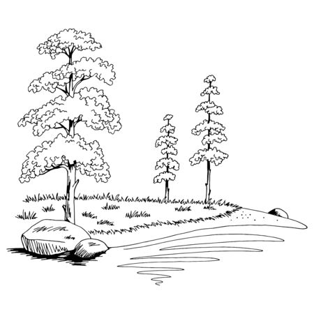 Pine tree lake coast graphic black white landscape sketch illustration vector