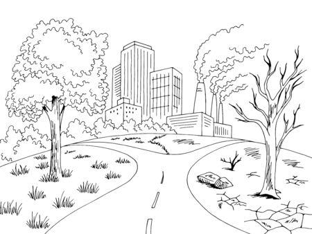 Global warming dry landscape graphic black white city ecology problem sketch illustration vector
