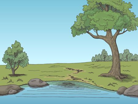 Park lake tree graphic color landscape sketch illustration vector  イラスト・ベクター素材