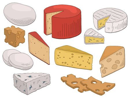 Cheese set graphic color isolated food sketch illustration vector Ilustração