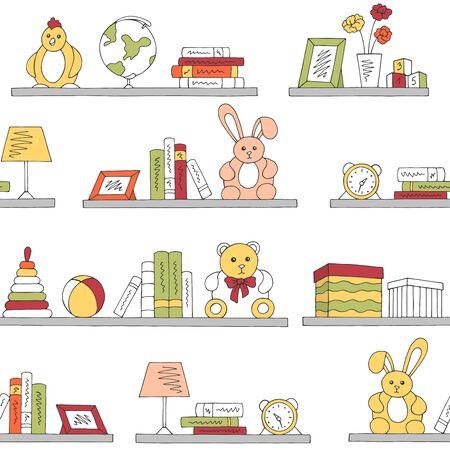 Shelves graphic color children room toy book seamless pattern background sketch illustration vector Ilustracja