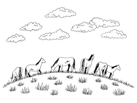 Horse feeding grass on the hill graphic black white sketch illustration vector