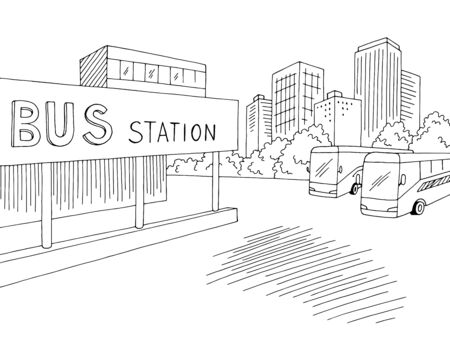 Vector de ilustración de bosquejo gráfico negro blanco ciudad calle paisaje de la estación de autobuses