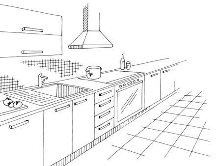 Kitchen room graphic black white home interior sketch illustration vector Ilustracja