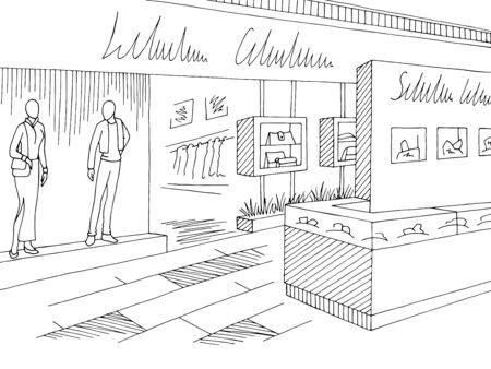Shopping mall graphic black white interior sketch illustration vector Ilustracja