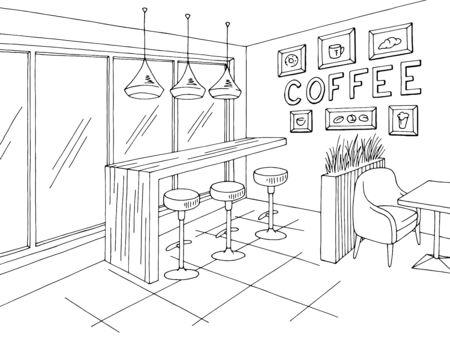 Cafe interior graphic black white sketch illustration vector Ilustracja