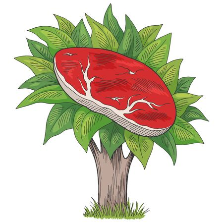 Plant vegan meat eco food tree graphic color isolated sketch illustration vector