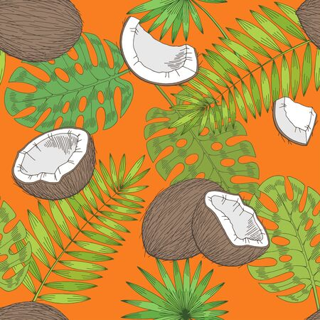 Coconut palm leaf graphic color seamless pattern sketch illustration vector
