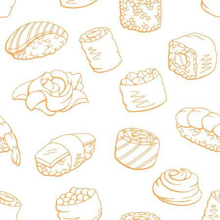 Sushi food graphic orange color seamless pattern background sketch illustration vector