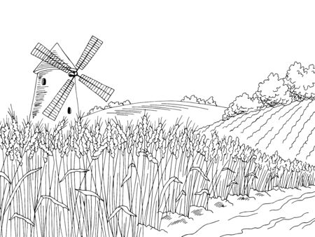 Wheat field graphic black white landscape sketch illustration vector Ilustração