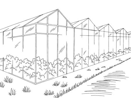 Greenhouse graphic black white landscape sketch illustration vector Illustration